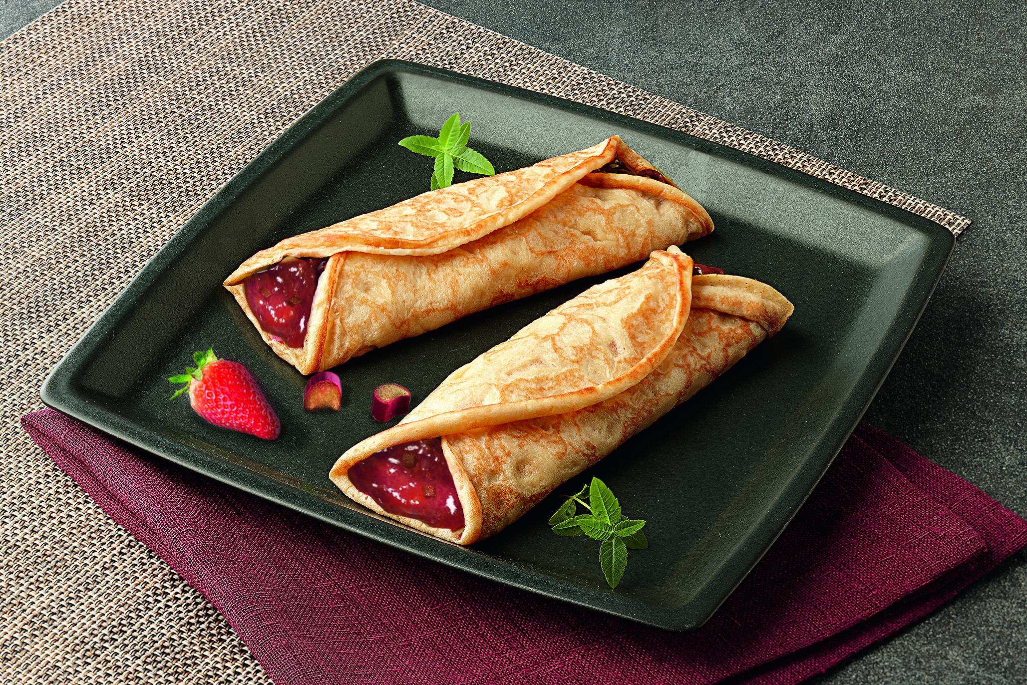 Pfannkuchen Erdbeer Rhababer